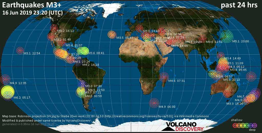 World map showing earthquakes above magnitude 3 during the past 24 hours on 16 Jun 2019