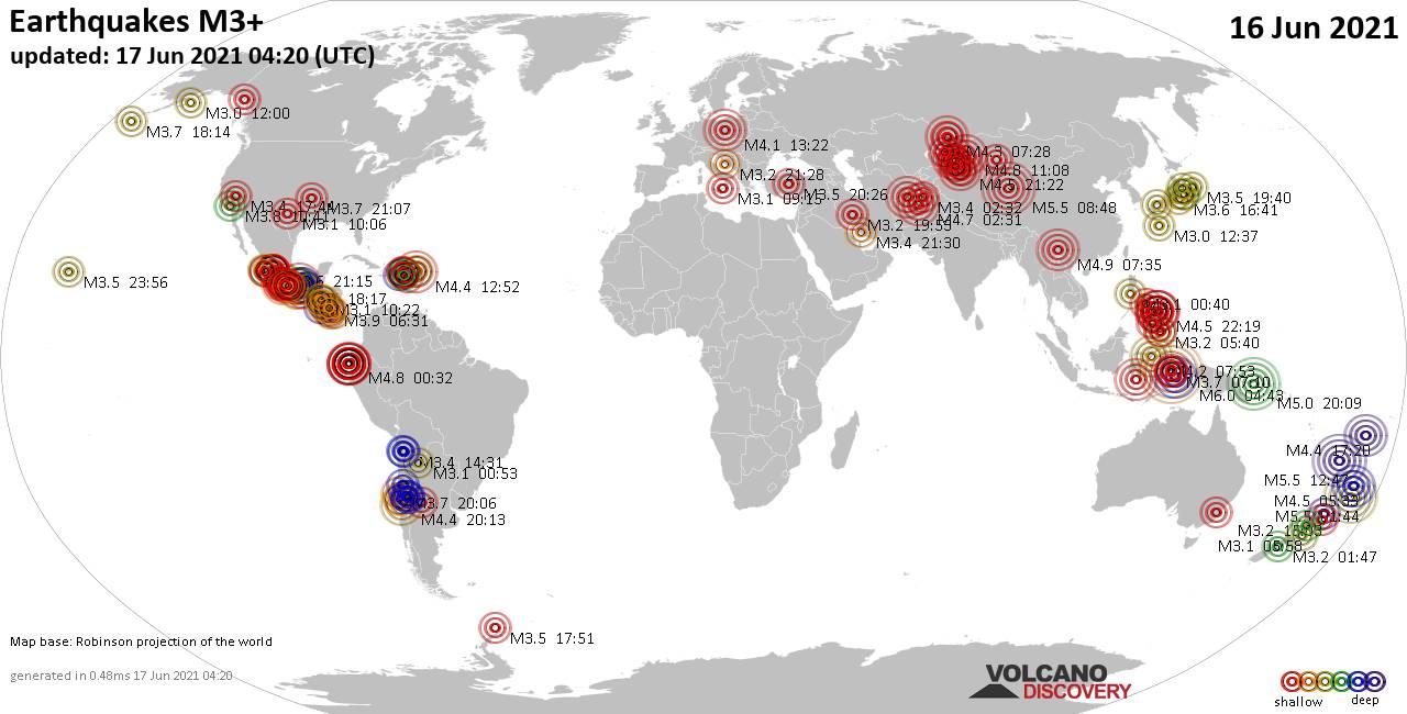 Weltkarte mit Erdbeben über Magnitude 3 während den letzten 24 Stunden past 24 hours am 17. Juni 2021