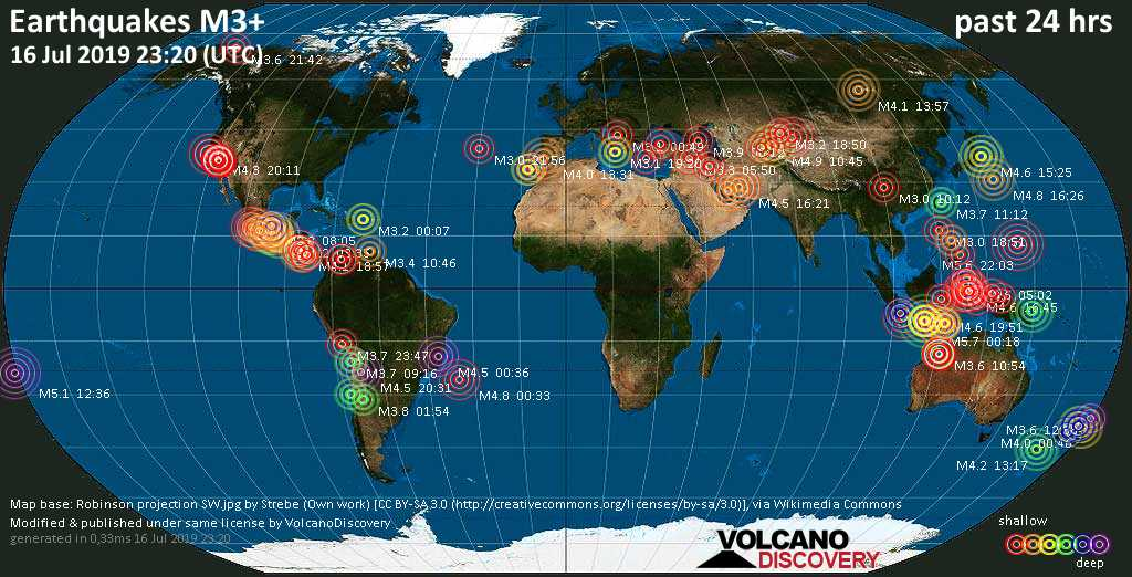 World map showing earthquakes above magnitude 3 during the past 24 hours on 16 Jul 2019