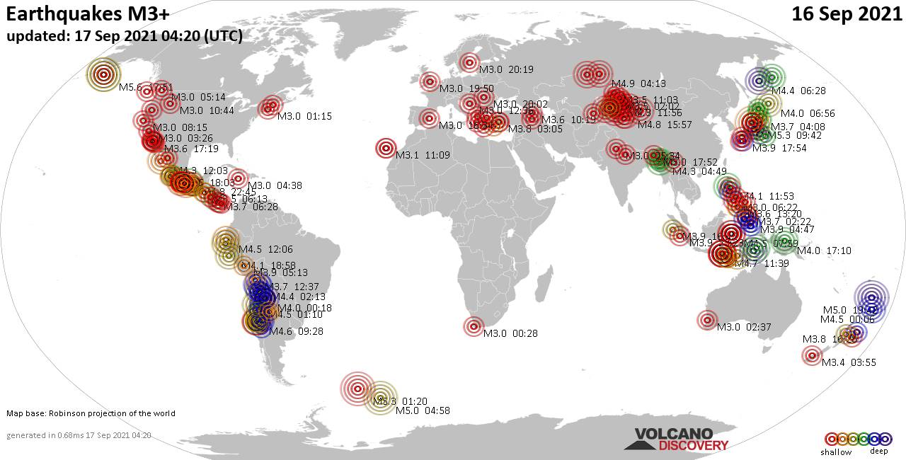 Worldwide earthquakes above magnitude 3 during the past 24 hours on 17 Sep 2021