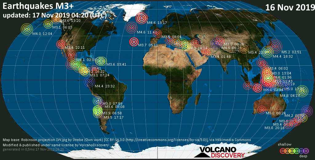 World map showing earthquakes above magnitude 3 during the past 24 hours on 17 Nov 2019