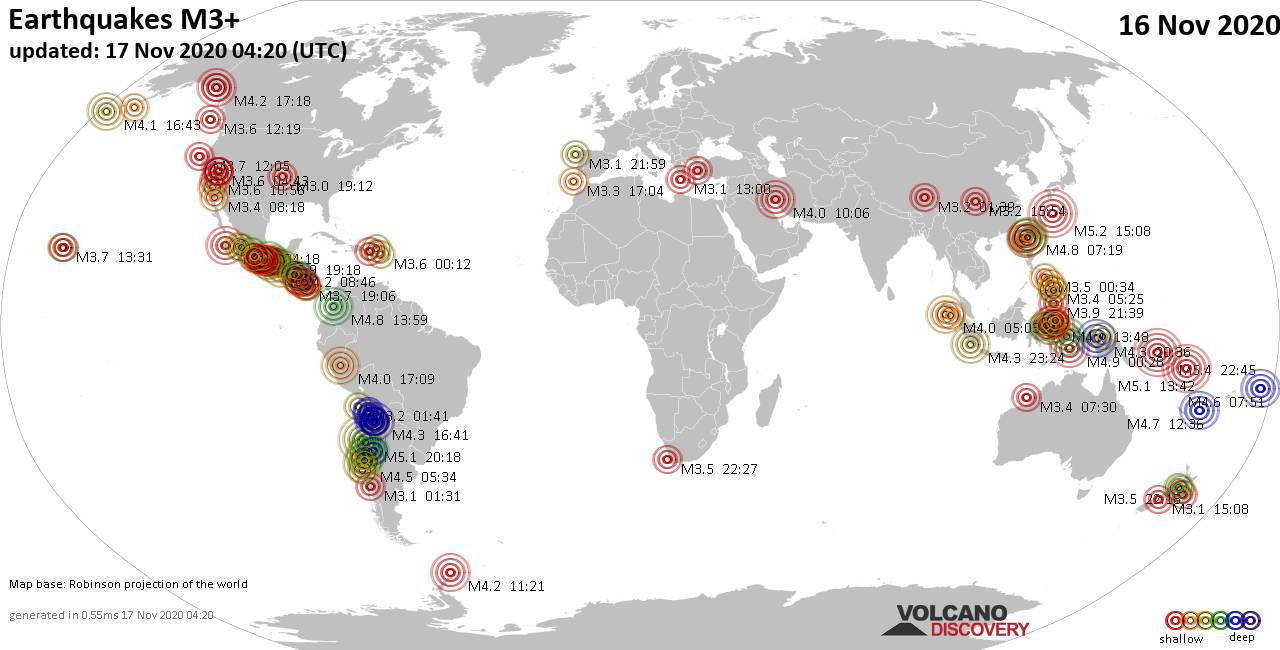 Worldwide earthquakes above magnitude 3 during the past 24 hours on 17 Nov 2020