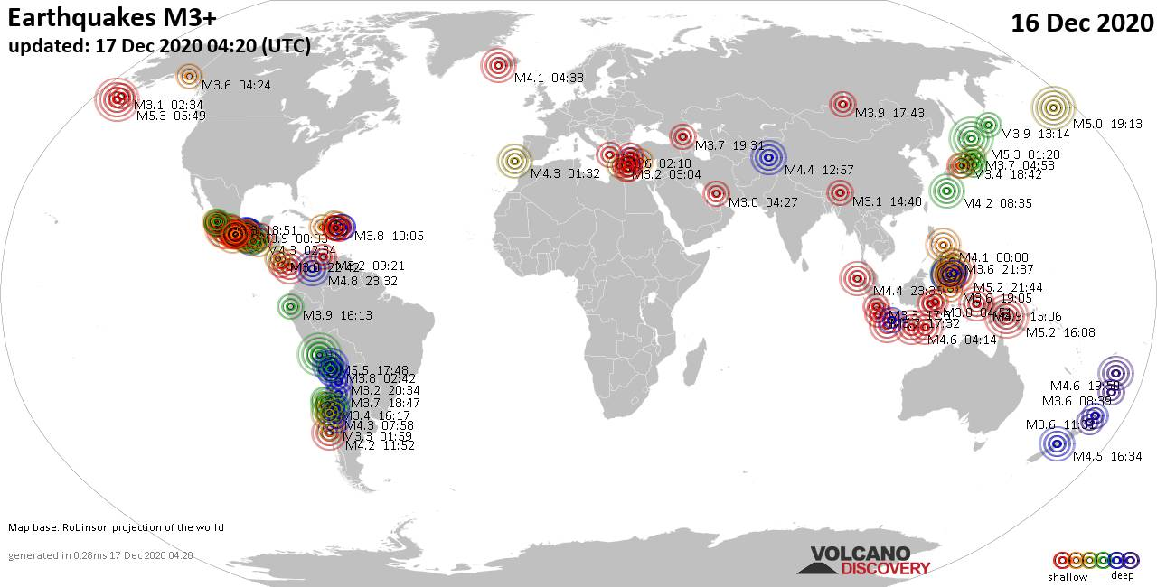 Worldwide earthquakes above magnitude 3 during the past 24 hours on 17 Dec 2020
