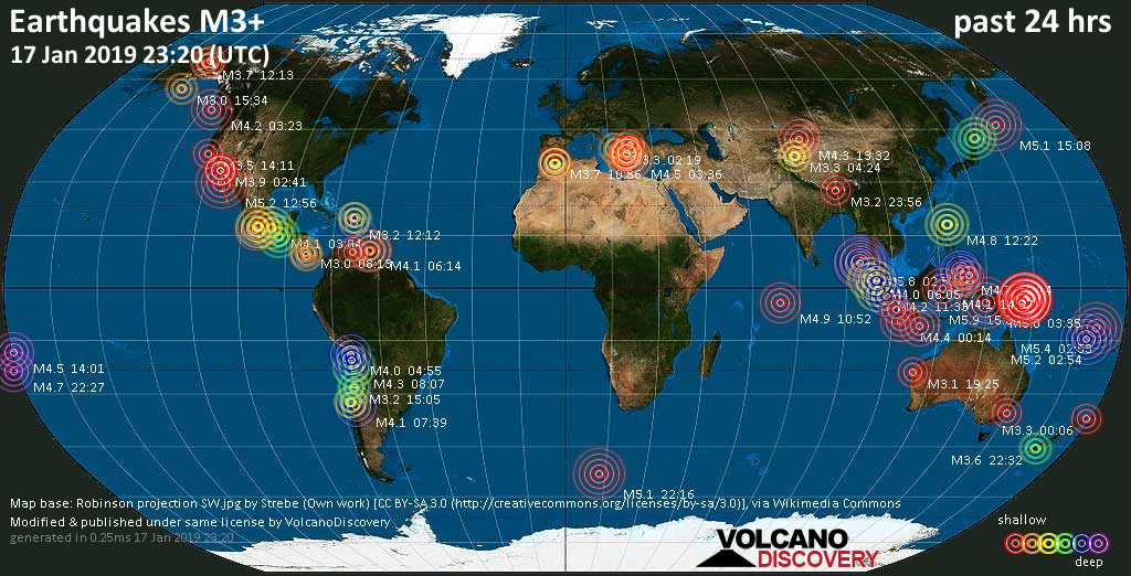 World map showing earthquakes above magnitude 3 during the past 24 hours on 17 Jan 2019