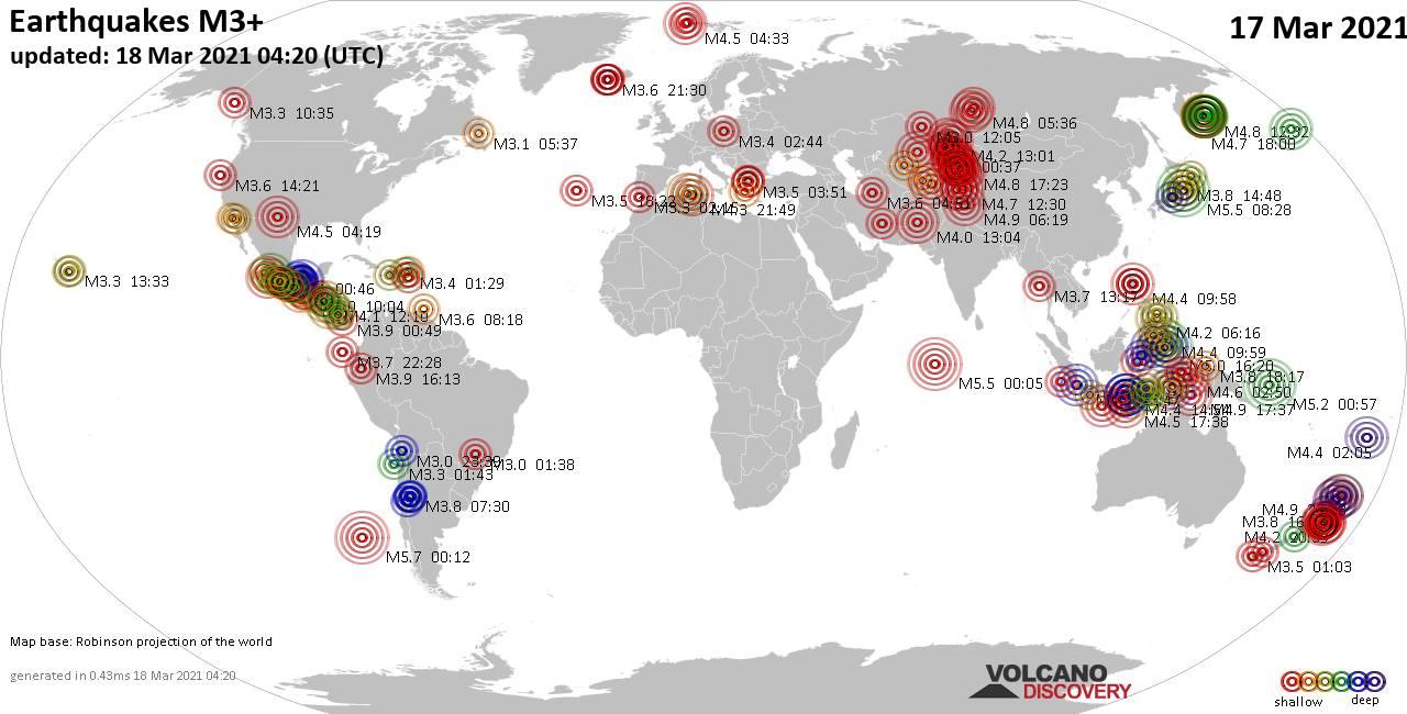 Plus de 3 tremblements de terre mondiaux au cours des dernières 24 heures, le 18 mars 2021