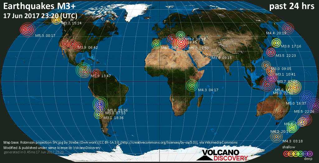 World map showing earthquakes above magnitude 3 during the past 24 hours on 17 Jun 2017