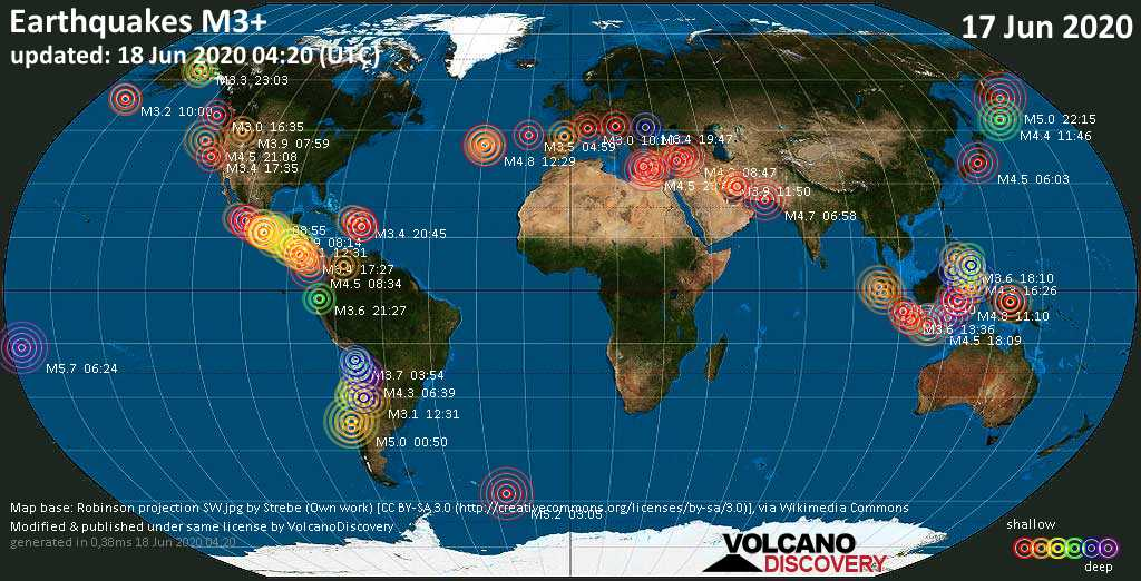 World map showing earthquakes above magnitude 3 during the past 24 hours on 18 Jun 2020