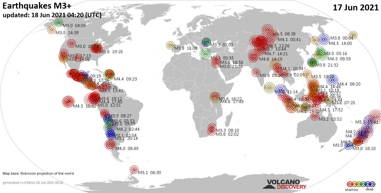 Worldwide earthquakes above magnitude 3 during the past 24 hours on 18 Jun 2021