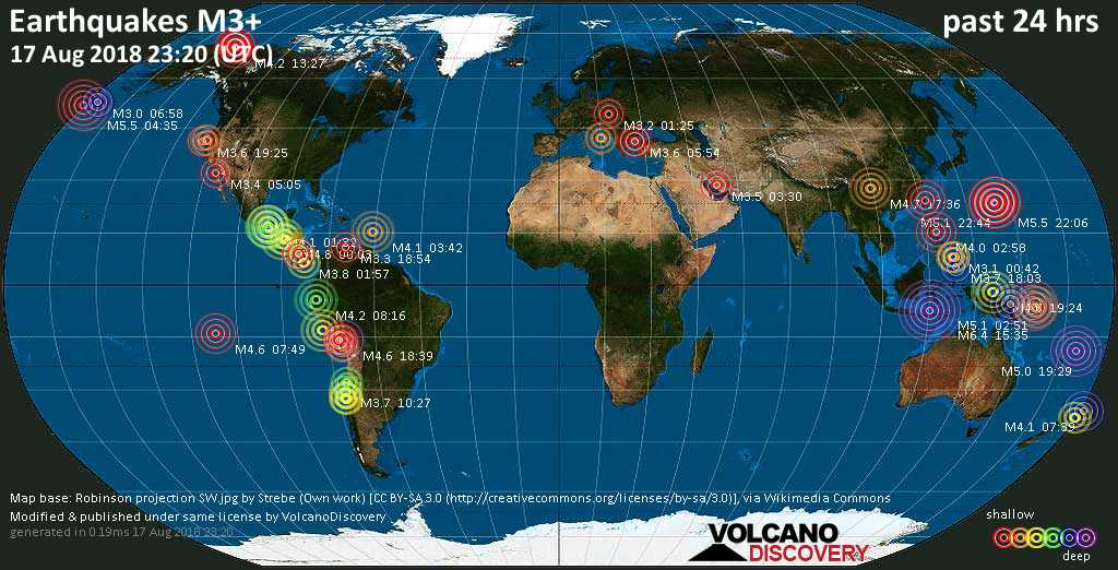 World map showing earthquakes above magnitude 3 during the past 24 hours on 17 Aug 2018