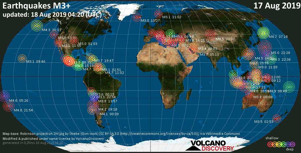 World map showing earthquakes above magnitude 3 during the past 24 hours on 18 Aug 2019