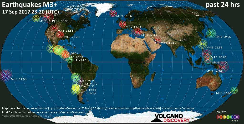 World map showing earthquakes above magnitude 3 during the past 24 hours on 17 Sep 2017