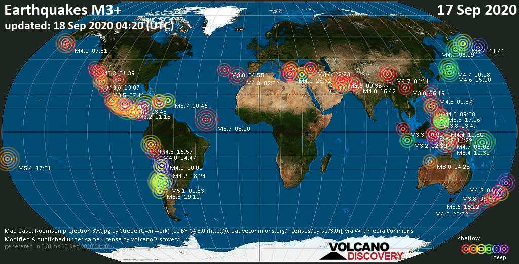Worldwide earthquakes above magnitude 3 during the past 24 hours on 18 Sep 2020