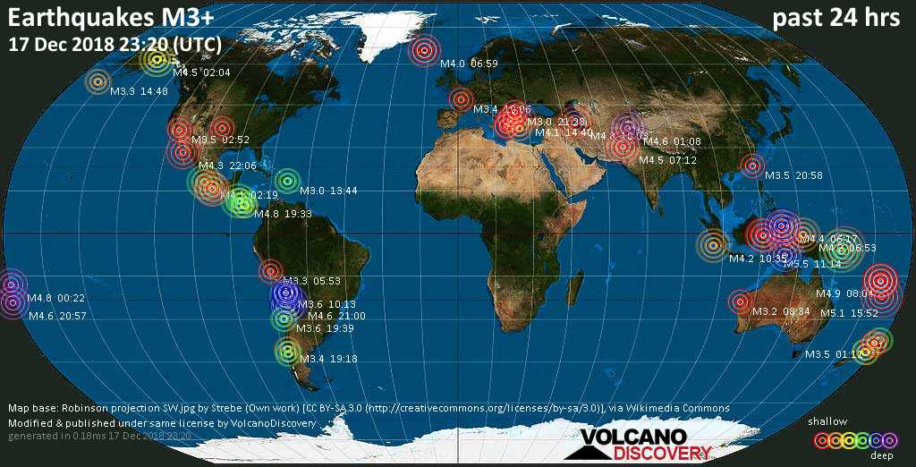World map showing earthquakes above magnitude 3 during the past 24 hours on 17 Dec 2018