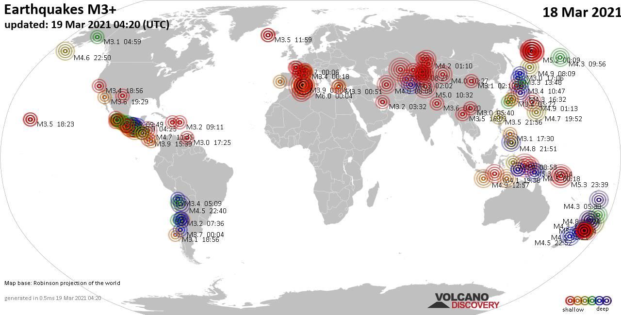 Más de 3 terremotos globales en las últimas 24 horas el 18 de marzo de 2021