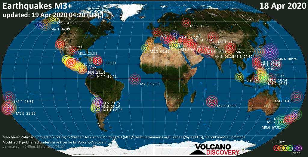 World map showing earthquakes above magnitude 3 during the past 24 hours on 19 Apr 2020
