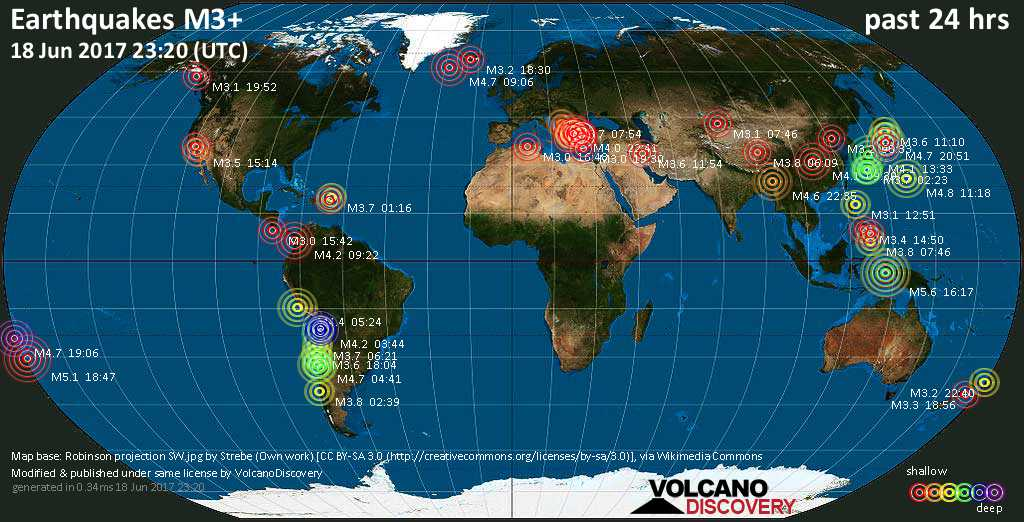 World map showing earthquakes above magnitude 3 during the past 24 hours on 18 Jun 2017