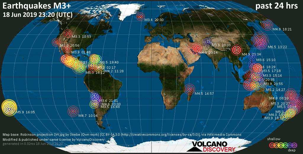 World map showing earthquakes above magnitude 3 during the past 24 hours on 18 Jun 2019