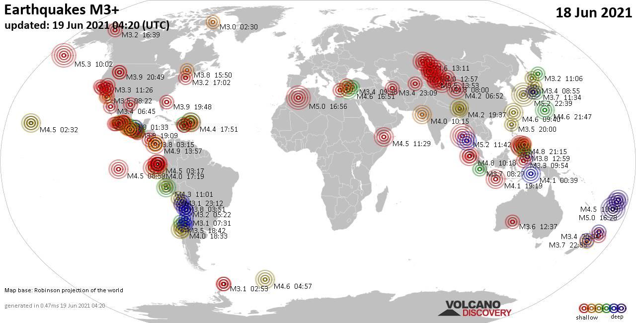 Mapa mundial que muestra terremotos de magnitud 3 en las últimas 24 horas 18 junio 2021