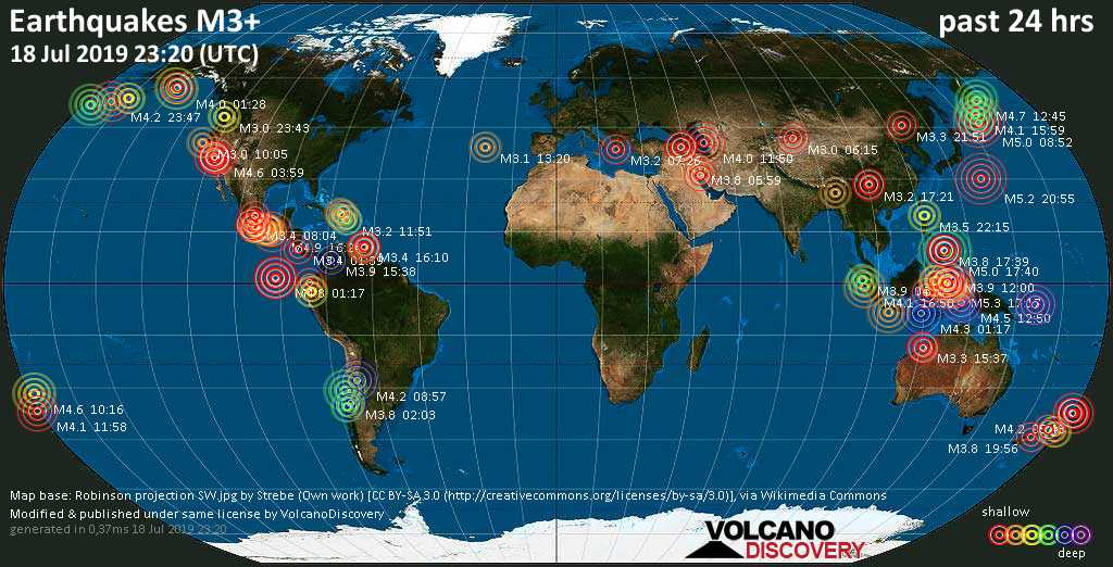 World map showing earthquakes above magnitude 3 during the past 24 hours on 18 Jul 2019