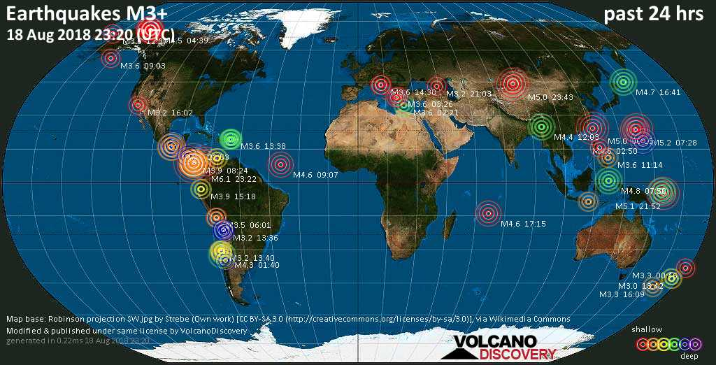 World map showing earthquakes above magnitude 3 during the past 24 hours on 18 Aug 2018