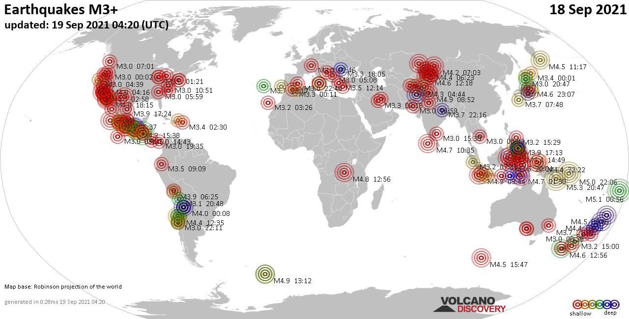 Mappa del mondo che mostra i terremoti sopra la magnitudo 3 nelle ultime 24 ore il 18 settembre 2021