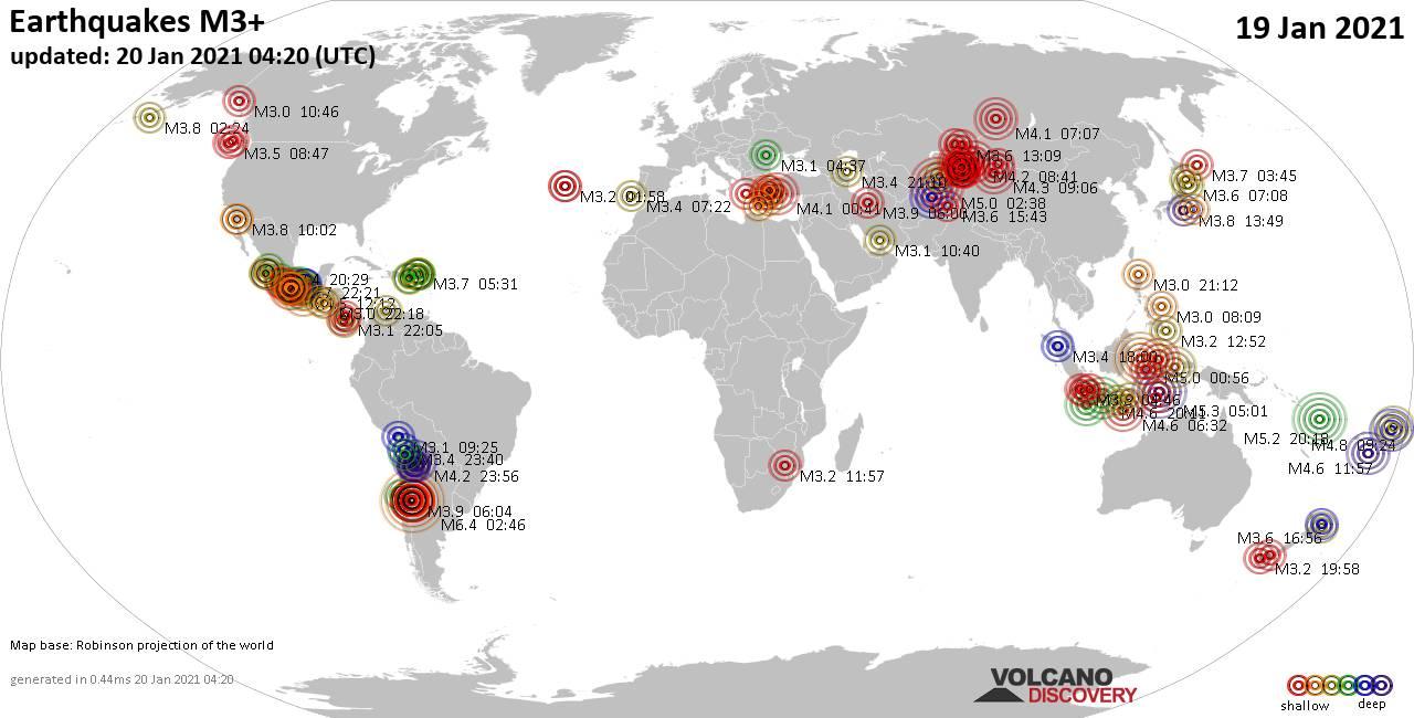 Weltkarte mit Erdbeben über Magnitude 3 während den letzten 24 Stunden past 24 hours am 20. Januar 2021