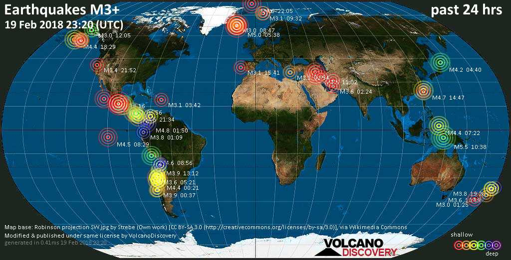 World map showing earthquakes above magnitude 3 during the past 24 hours on 19 Feb 2018