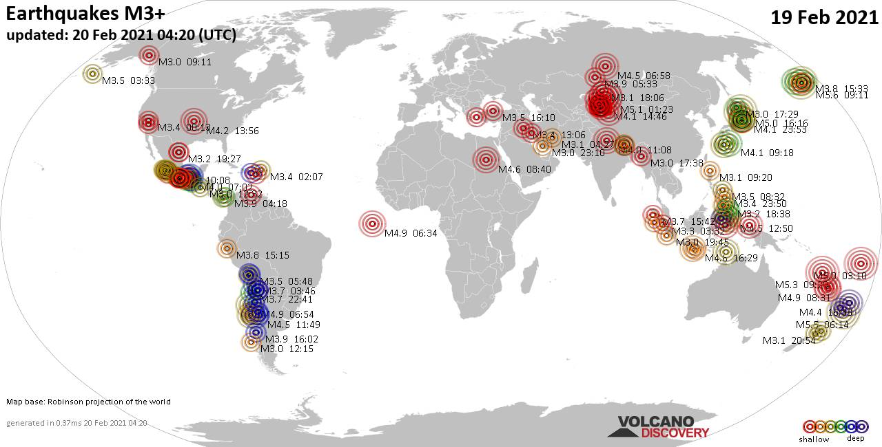 Worldwide earthquakes above magnitude 3 during the past 24 hours on 20 Feb 2021