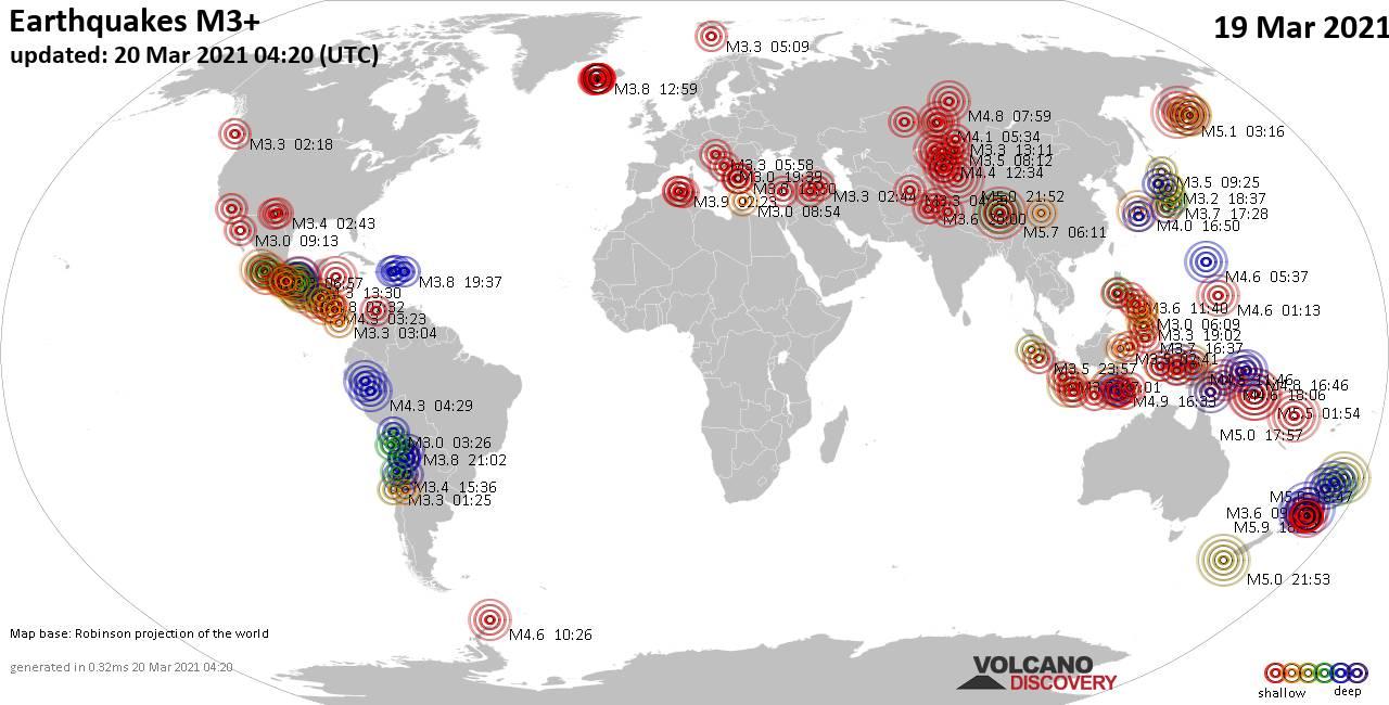 Lebih dari 3 gempa bumi global dalam 24 jam terakhir pada 19 Maret 2021