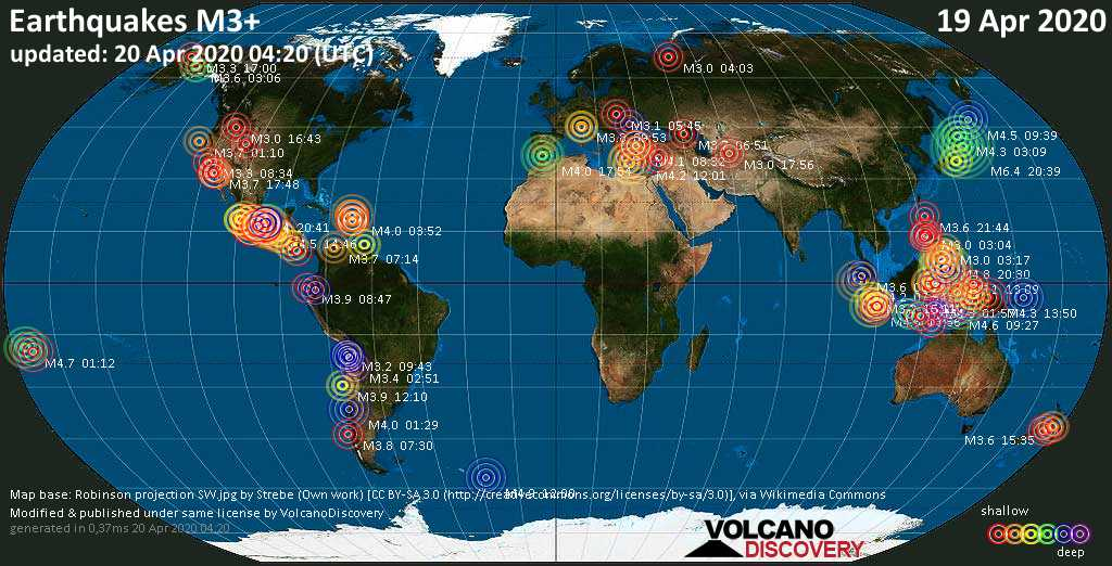 World map showing earthquakes above magnitude 3 during the past 24 hours on 20 Apr 2020