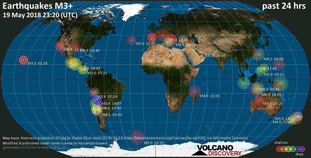 World map showing earthquakes above magnitude 3 during the past 24 hours on 19 May 2018