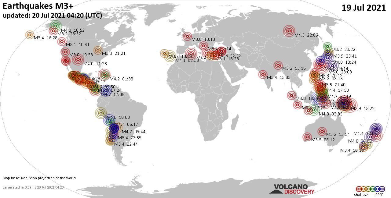 Weltkarte mit Erdbeben über Magnitude 3 während den letzten 24 Stunden past 24 hours am 20. Juli 2021