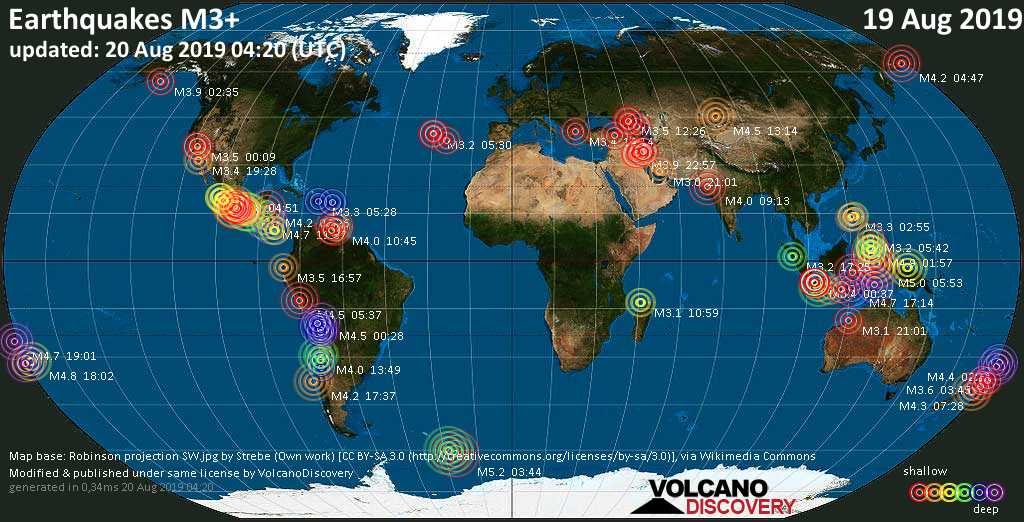 World map showing earthquakes above magnitude 3 during the past 24 hours on 20 Aug 2019