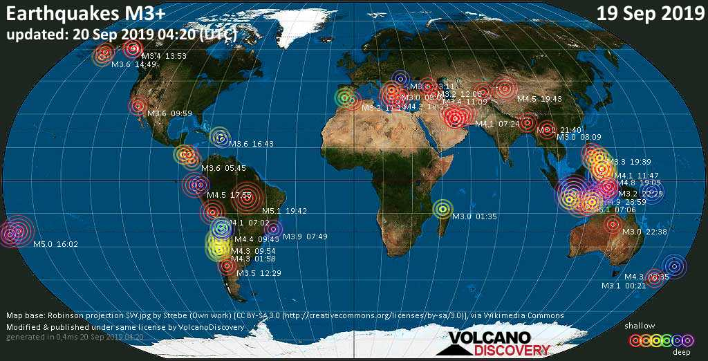 World map showing earthquakes above magnitude 3 during the past 24 hours on 20 Sep 2019