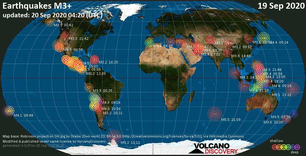 Worldwide earthquakes above magnitude 3 during the past 24 hours on 20 Sep 2020