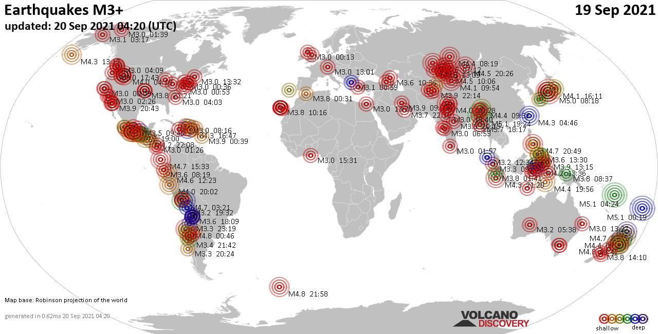 Weltkarte mit Erdbeben über Magnitude 3 während den letzten 24 Stunden past 24 hours am 20. September 2021