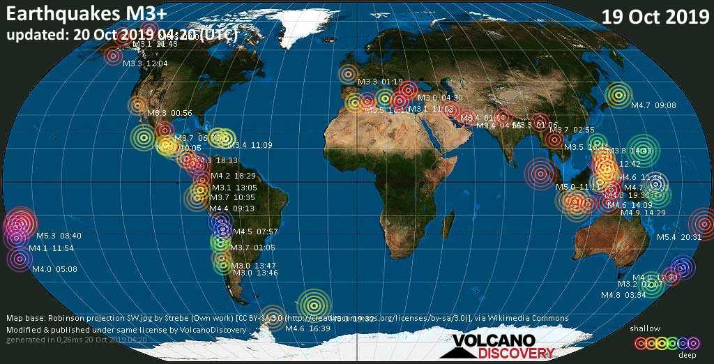 Mapa mundial que muestra terremotos de magnitud 3 en las últimas 24 horas 20 octubre 2019