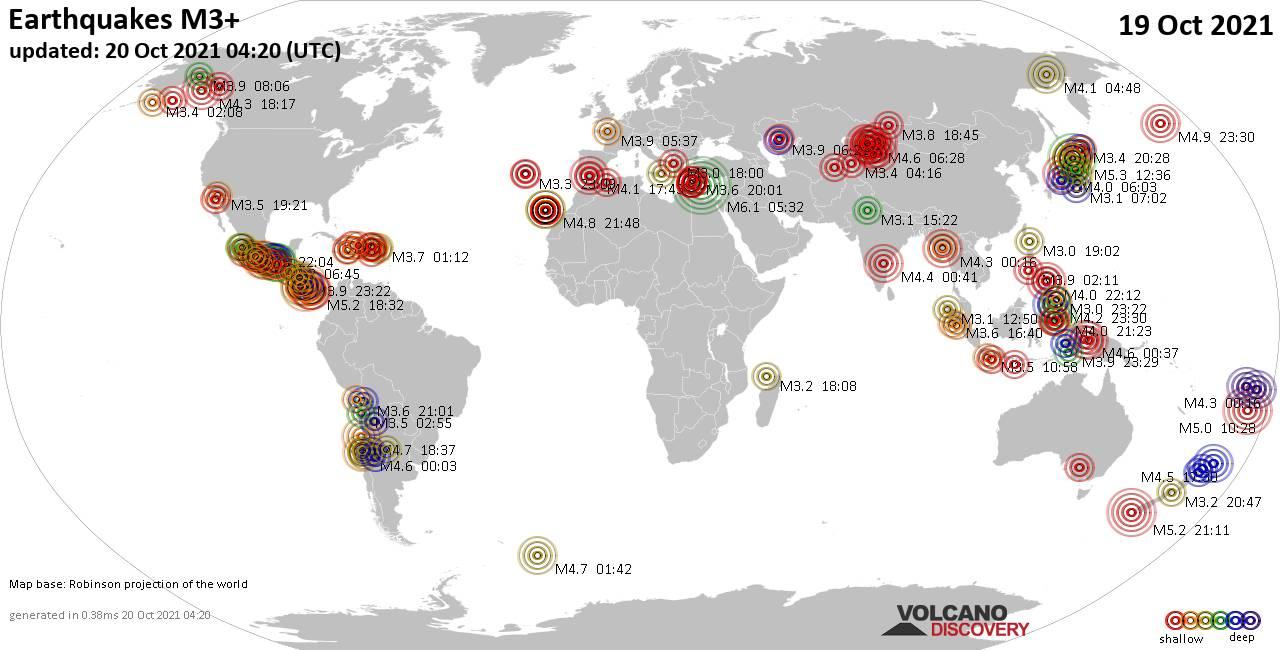 Weltkarte mit Erdbeben über Magnitude 3 während den letzten 24 Stunden past 24 hours am 19. Oktober 2021