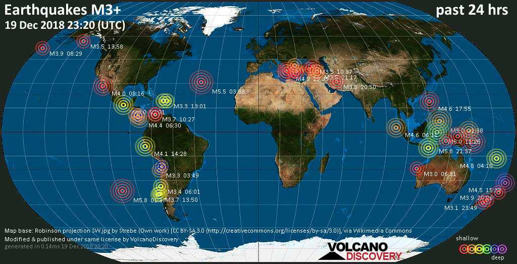 World map showing earthquakes above magnitude 3 during the past 24 hours on 19 Dec 2018