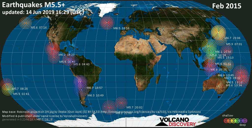 World map showing earthquakes above magnitude 5.5 during February 2015