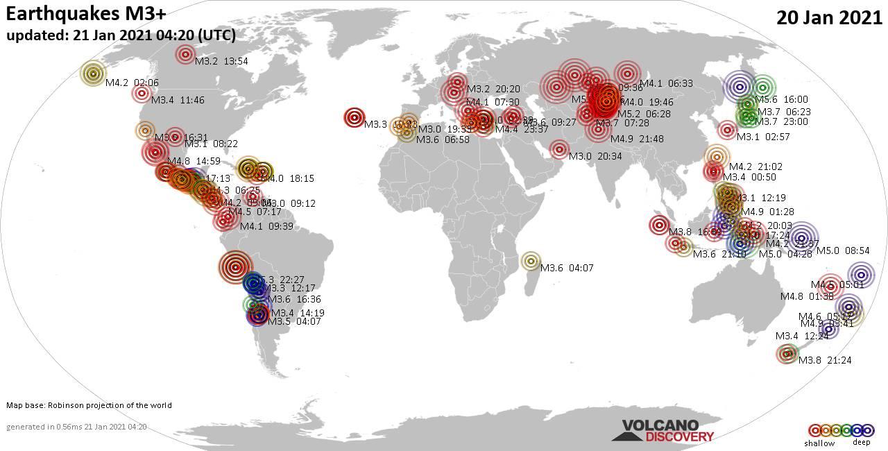 Mapa mundial que muestra terremotos de magnitud 3 en las últimas 24 horas 21 enero 2021