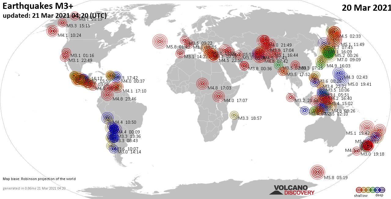 Lebih dari 3 gempa bumi global dalam 24 jam terakhir pada tanggal 20 Maret 2021