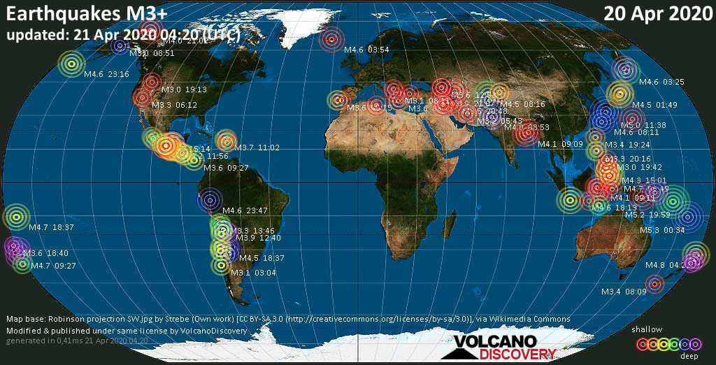 World map showing earthquakes above magnitude 3 during the past 24 hours on 21 Apr 2020