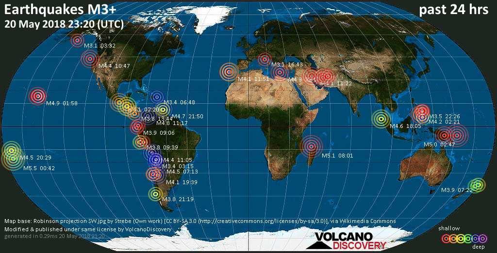 World map showing earthquakes above magnitude 3 during the past 24 hours on 20 May 2018