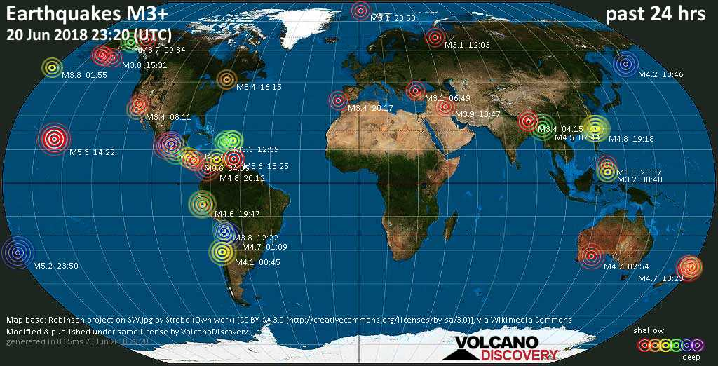 World map showing earthquakes above magnitude 3 during the past 24 hours on 20 Jun 2018