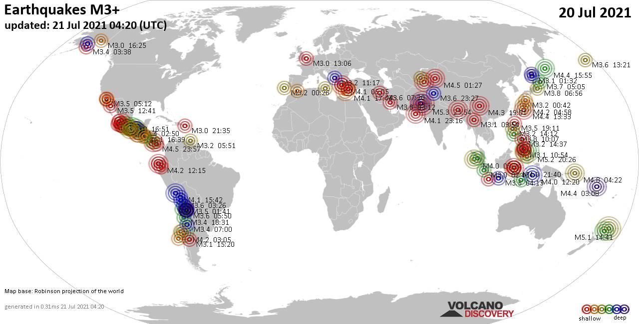 Mapa mundial que muestra terremotos de magnitud 3 en las últimas 24 horas 21 julio 2021