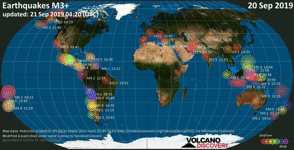 World map showing earthquakes above magnitude 3 during the past 24 hours on 21 Sep 2019