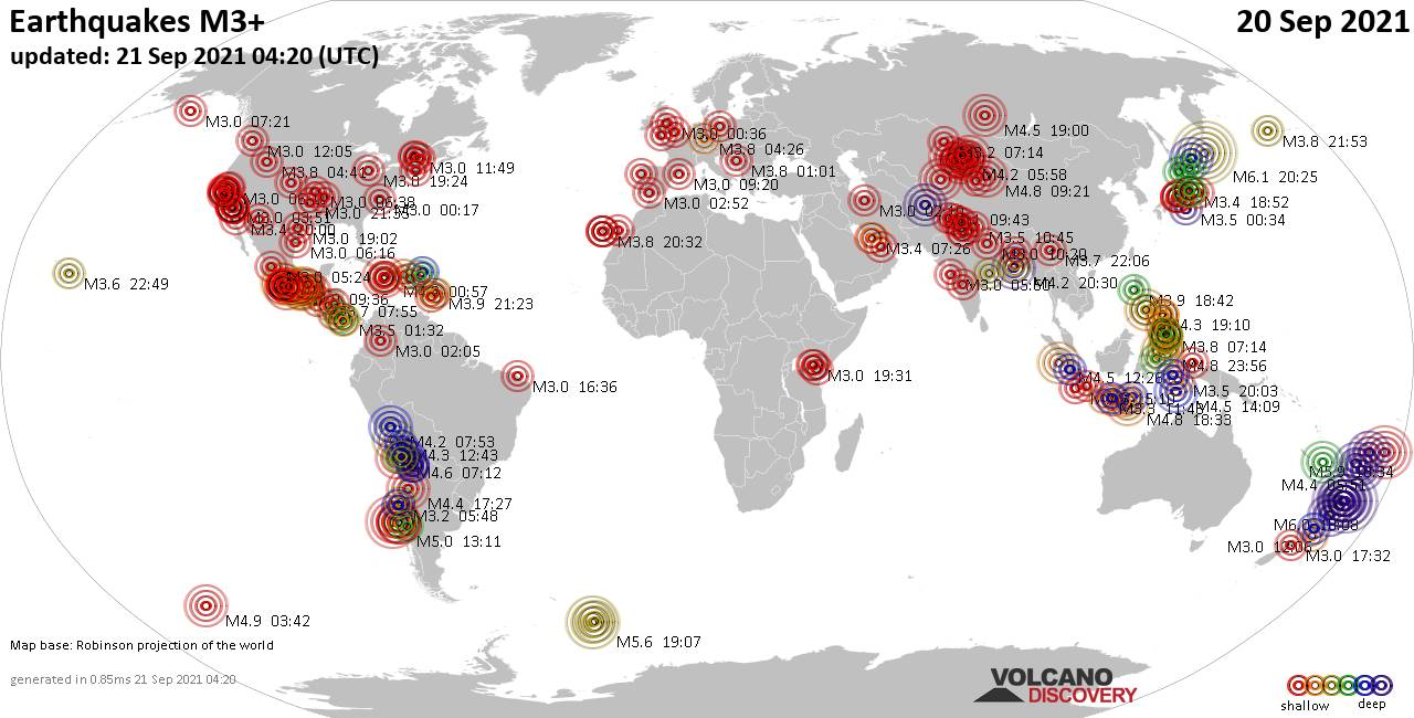 Worldwide earthquakes above magnitude 3 during the past 24 hours on 20 Sep 2021