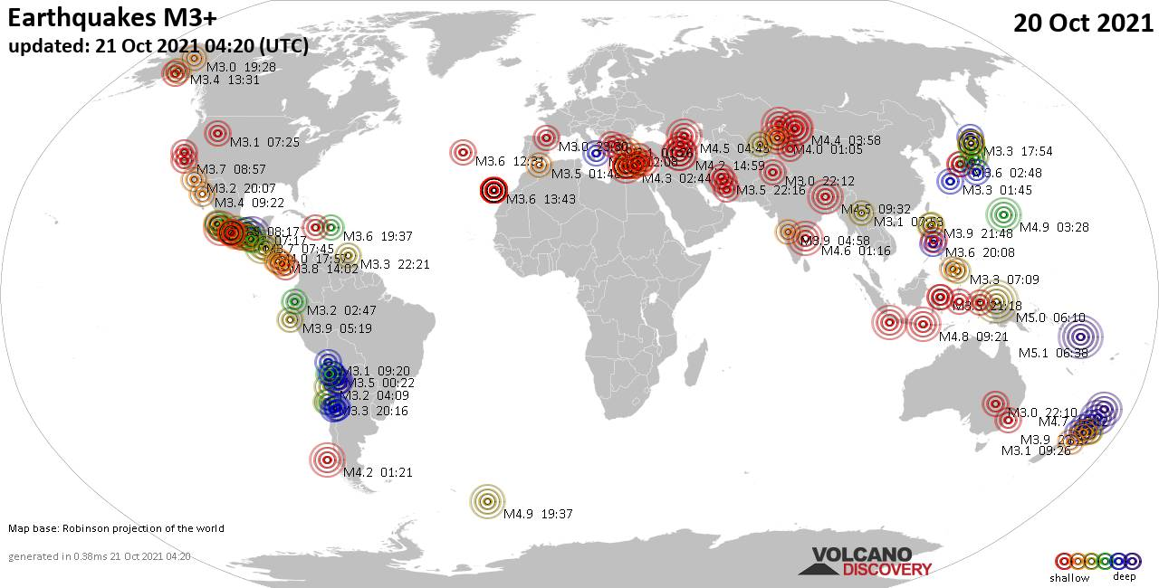 Worldwide earthquakes above magnitude 3 during the past 24 hours on 20 Oct 2021