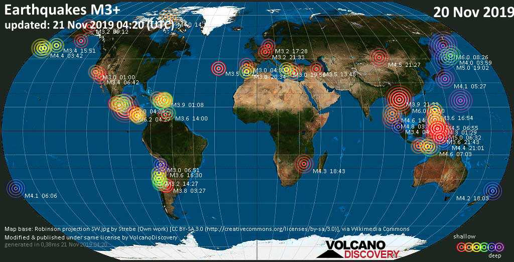 World map showing earthquakes above magnitude 3 during the past 24 hours on 21 Nov 2019
